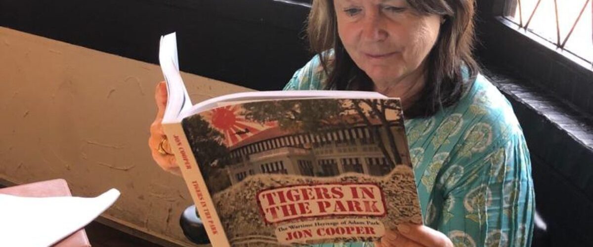 Jane Iyer Reading Tigers in the Park Book Jon Cooper